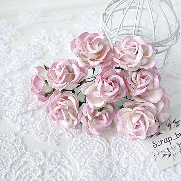 Цветы и флористика ручной работы. Ярмарка Мастеров - ручная работа Бумажные розы Бело-розовые 4 см Бумажные розы для скрапбукинга. Handmade.