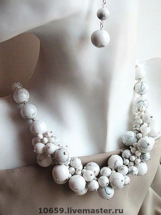 Колье, бусы ручной работы. Ярмарка Мастеров - ручная работа. Купить ожерелье БЕЛОСНЕЖНОСТЬ + серьги ( по желанию ). Handmade.