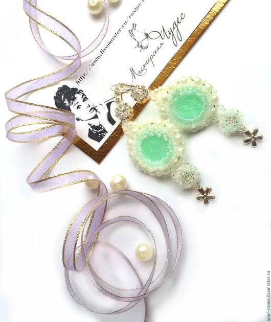 Свадебные украшения ручной работы. Ярмарка Мастеров - ручная работа. Купить Серьги. Handmade. Мятный, купить в ростове, невеста, стразы