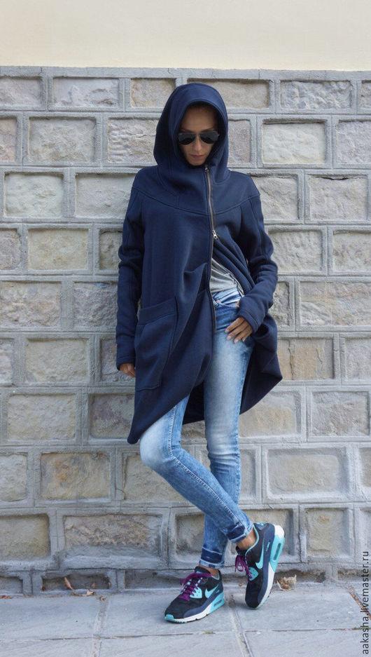 Пальто теплое, осеннее,с капюшоном стильно пальто свободное дизайнерское модное пальто с капюшоном на молнии спортивный стиль спортивное пальто