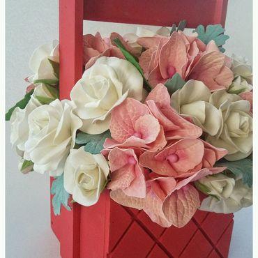 Цветы и флористика ручной работы. Ярмарка Мастеров - ручная работа Композиция цветочная из фоамирана. Цветы подарить. Подарок женщине. Handmade.