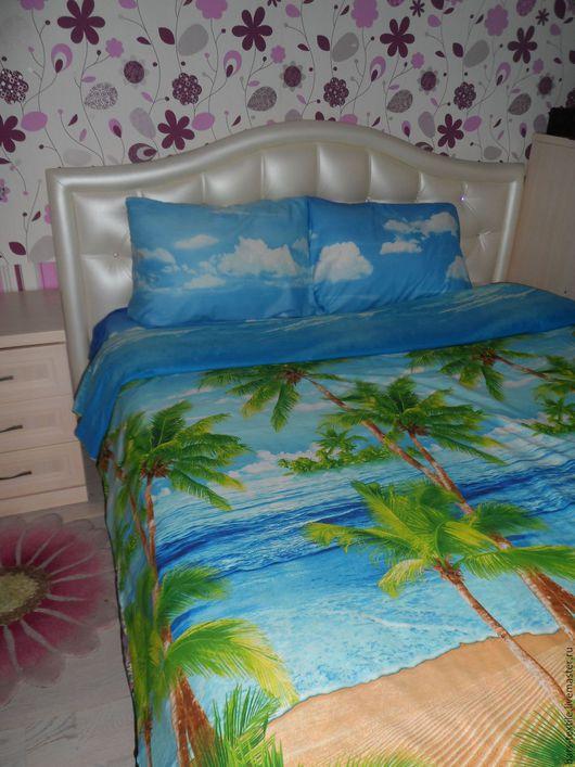 """Текстиль, ковры ручной работы. Ярмарка Мастеров - ручная работа. Купить Постельное бельё """"Пляж"""" перкаль. Handmade. Комбинированный, пальма"""