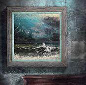 Картины и панно ручной работы. Ярмарка Мастеров - ручная работа картина Глубокое синее море (морской пейзаж, синий, бирюзовый). Handmade.