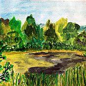 """Картины и панно ручной работы. Ярмарка Мастеров - ручная работа Акварель """"Маленькое озеро"""". Handmade."""