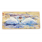 Картины и панно handmade. Livemaster - original item The picture tree Lovers swans. Handmade.