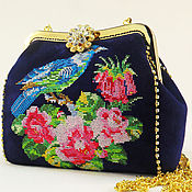 Сумки и аксессуары handmade. Livemaster - original item Suede embroidered handbag, blue bag with stones, evening bag, flowers. Handmade.