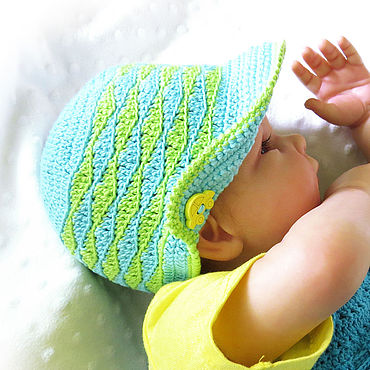 Clothing handmade. Livemaster - original item Panama knitted for a boy children hat turquoise light green. Handmade.