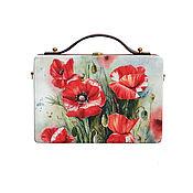Сумки и аксессуары handmade. Livemaster - original item Women`s bag Red poppies made of wood with painting. Handmade.
