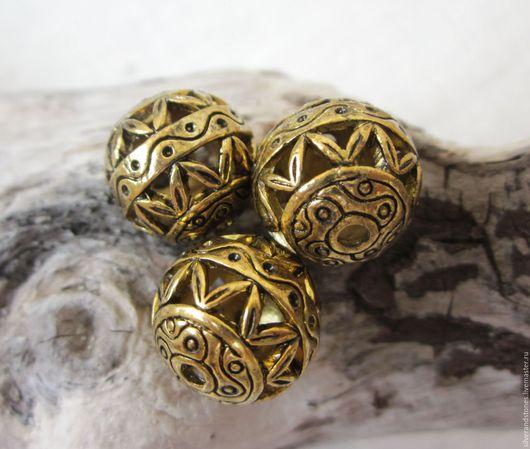 Для украшений ручной работы. Ярмарка Мастеров - ручная работа. Купить Бусина 14 мм, цвет золото. Handmade. Золотой