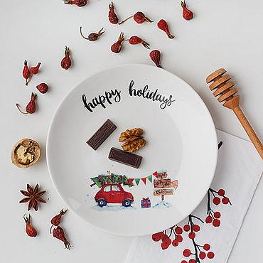 Сувениры и подарки ручной работы. Ярмарка Мастеров - ручная работа Тарелка фарфоровая Happy holidays. Handmade.