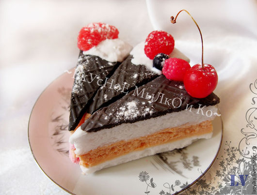 """Мыло ручной работы. Ярмарка Мастеров - ручная работа. Купить Мыло для рук """"Тортик """"Прага"""". Handmade. Торт, кусочек торта"""