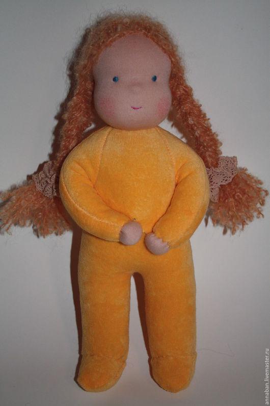 Вальдорфская игрушка ручной работы. Ярмарка Мастеров - ручная работа. Купить Куколка в пришивном комбинезоне солнечная 32 см. Handmade.