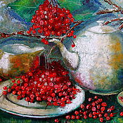 Картины и панно handmade. Livemaster - original item Tea with viburnum. oil painting still life. Handmade.