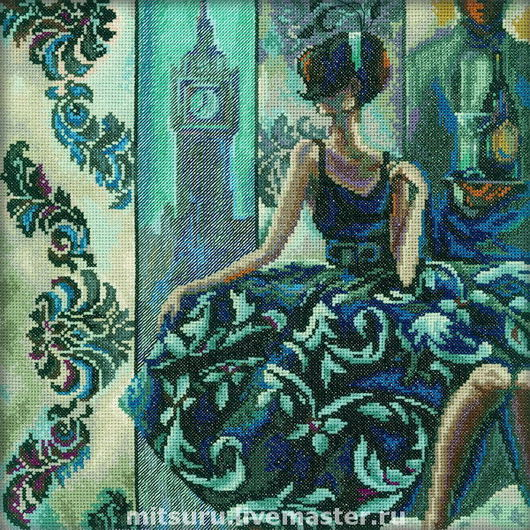 Portraits handmade. Livemaster - handmade. Buy Eye-catching woman in exquisite venues (London).London, cross stitch
