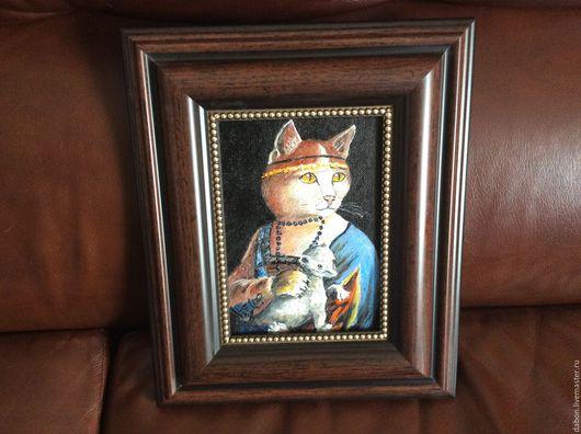 Животные ручной работы. Ярмарка Мастеров - ручная работа. Купить Картина в подарок Дама с горностаем. Handmade. Черный, коты и кошки