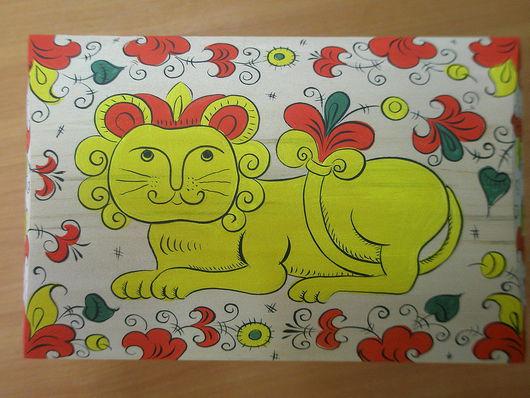 """Сувениры ручной работы. Ярмарка Мастеров - ручная работа. Купить Сундучок""""Хранитель"""". Handmade. Комбинированный, лев, лак"""