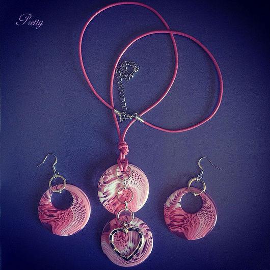 Комплекты украшений ручной работы. Ярмарка Мастеров - ручная работа. Купить Розовое лето (кулон + серьги). Handmade. Розовый