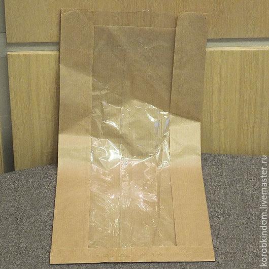 Упаковка ручной работы. Ярмарка Мастеров - ручная работа. Купить Пакет 17х39х6.5 крафт коричневый тонкий с окном без ручек для выпечки. Handmade.