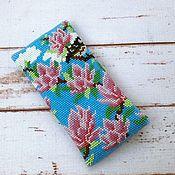 Сумки и аксессуары handmade. Livemaster - original item Eyeglass case made of beads birds and Magnolia. Handmade.