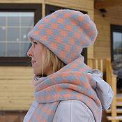 Аксессуары handmade. Livemaster - original item Hat and scarf houndstooth. Handmade.