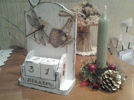 """Календари ручной работы. Ярмарка Мастеров - ручная работа. Купить Вечный календарь""""Стрекоза"""". Handmade. Серый, подарок на любой случай, воск"""