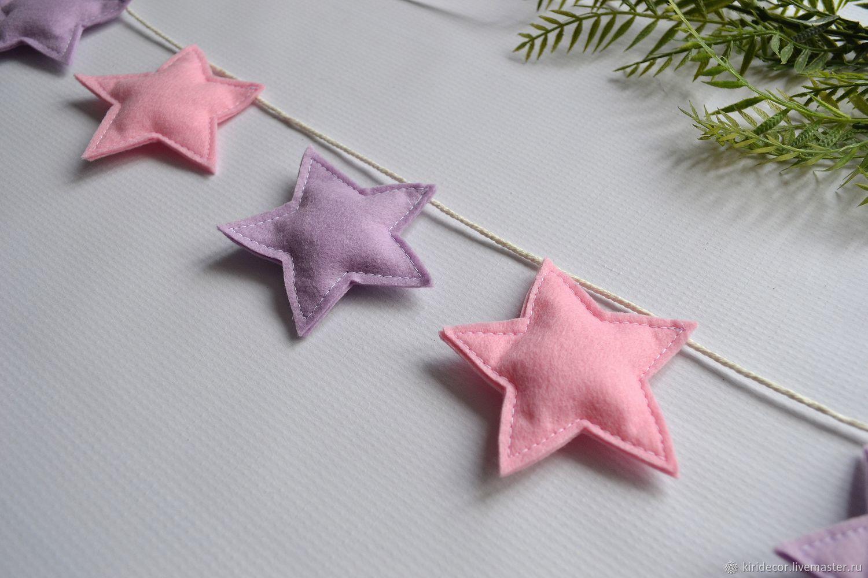 Felt Stars garland, garland for the nursery, Interior elements, Novosibirsk,  Фото №1