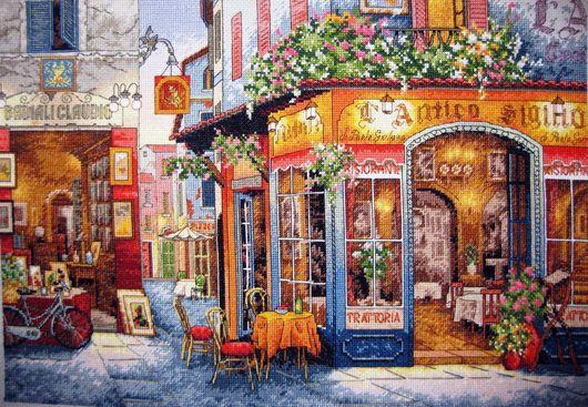 """Город ручной работы. Ярмарка Мастеров - ручная работа. Купить Вышитая картина""""Европейское бистро"""". Handmade. Вышитая картина, Вышивка крестом"""