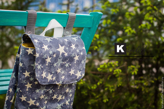 """Рюкзаки ручной работы. Ярмарка Мастеров - ручная работа. Купить Летний рюкзачок """"Звезды"""". Handmade. Серый, сумка, звезды, стропа"""