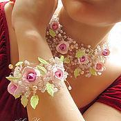 """Украшения ручной работы. Ярмарка Мастеров - ручная работа """"Розовый сад"""", колье и браслет. Handmade."""