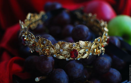 """Диадемы, обручи ручной работы. Ярмарка Мастеров - ручная работа. Купить Праздничная диадема """"Rubies and gold"""". Handmade. Корона"""