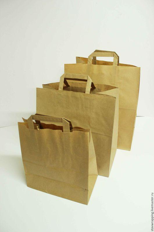 Упаковка ручной работы. Ярмарка Мастеров - ручная работа. Купить Крафт пакет с плоскими ручками 32х20х37 см. Handmade.