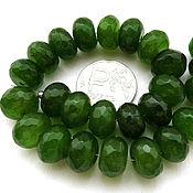 Материалы для творчества ручной работы. Ярмарка Мастеров - ручная работа Агат 25 камней набор зеленый рондели с огранкой бусины. Handmade.