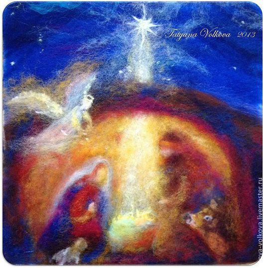 """Люди, ручной работы. Ярмарка Мастеров - ручная работа. Купить Картина из шерсти  """"Рождество"""". Handmade. Картина, шерстяная акварель, зима"""