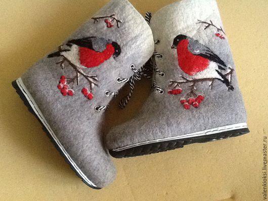 """Обувь ручной работы. Ярмарка Мастеров - ручная работа. Купить Ботинки """"снегири"""". Handmade. Серый, валенки ручной работы, ботиночки"""