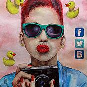 Картины и панно ручной работы. Ярмарка Мастеров - ручная работа Duckface. Поколение селфи.. Handmade.