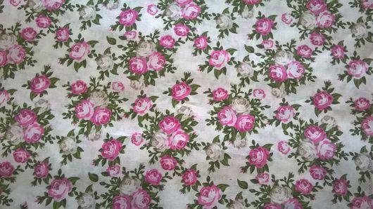 Шитье ручной работы. Ярмарка Мастеров - ручная работа. Купить Ткань Хлопок Б№27 плательный Белый в цветочек  для сарафанов, юбок. Handmade.