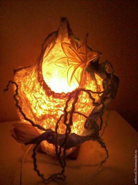Освещение ручной работы. Ярмарка Мастеров - ручная работа. Купить Светильник с Лотосом. Handmade. Светильник ручной работы, шерсть 100%
