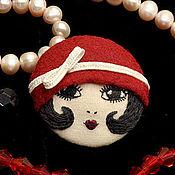 Украшения ручной работы. Ярмарка Мастеров - ручная работа Брошь Flapper Girl куколка брюнетка красная черная / брошь лицо камея. Handmade.