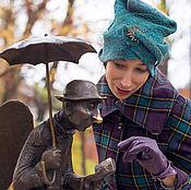 """Аксессуары ручной работы. Ярмарка Мастеров - ручная работа высокая валяная шапка   """" Изумруд"""". Handmade."""