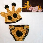Работы для детей, ручной работы. Ярмарка Мастеров - ручная работа Жираф для фотосессии новорожденных. Шапочка для новорожденного. Handmade.