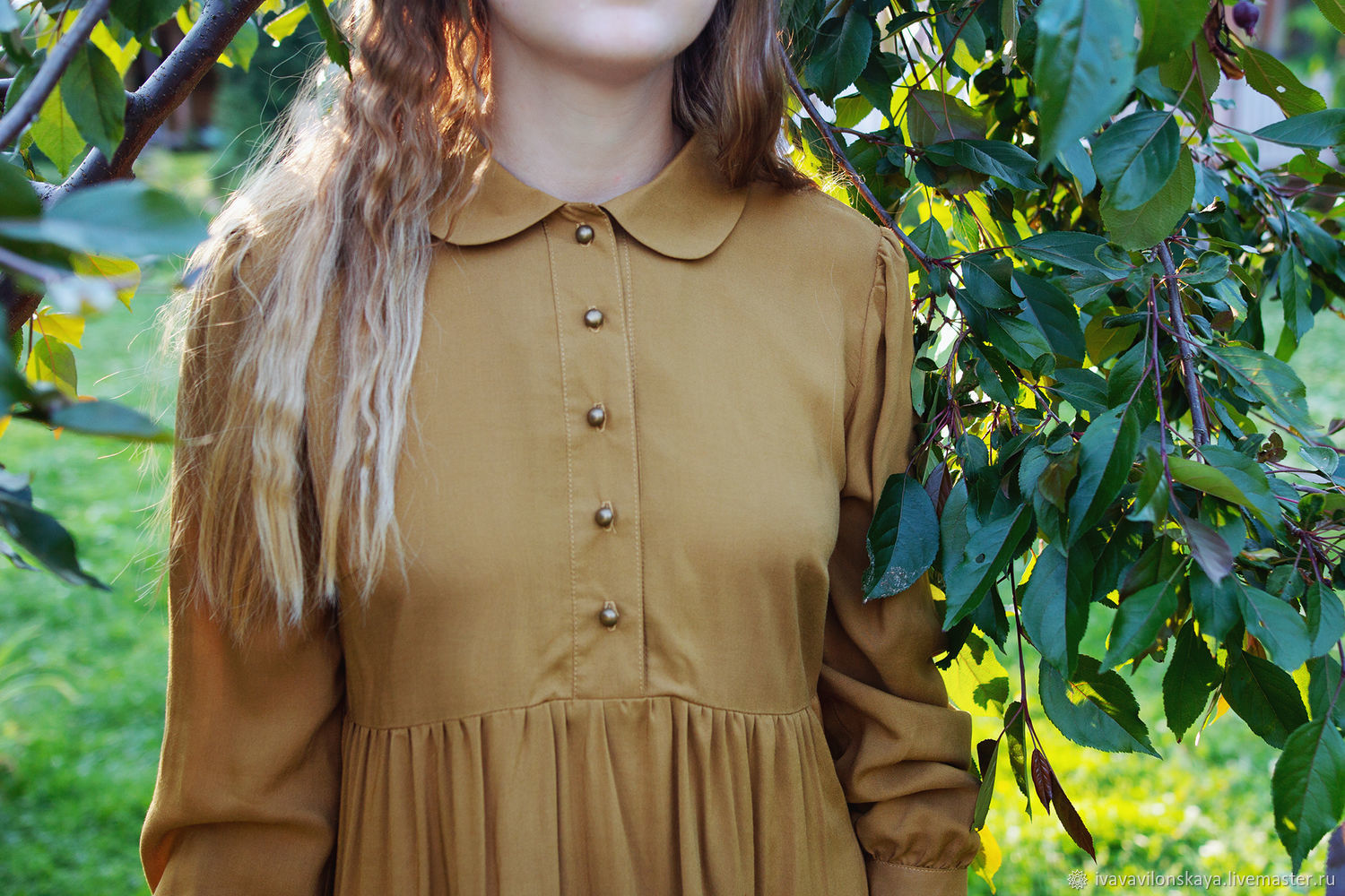Cotton dress with a dark mustard collar, Dresses, Moscow,  Фото №1
