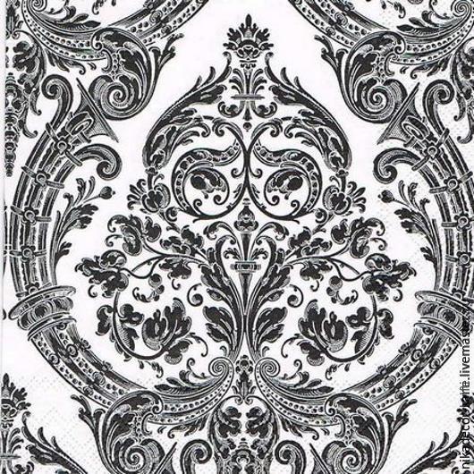 Декупаж и роспись ручной работы. Ярмарка Мастеров - ручная работа. Купить Величественный орнамент черный (В-024) - салфетка для декупажа. Handmade.
