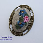 "Украшения handmade. Livemaster - original item Brooch, brooch flowers, brooch with embroidery ""Summer bouquet"". Handmade."