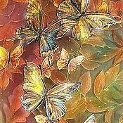 Картины и панно ручной работы. Ярмарка Мастеров - ручная работа Бабочки цвета махагон-картина на шелке с бабочками. Handmade.