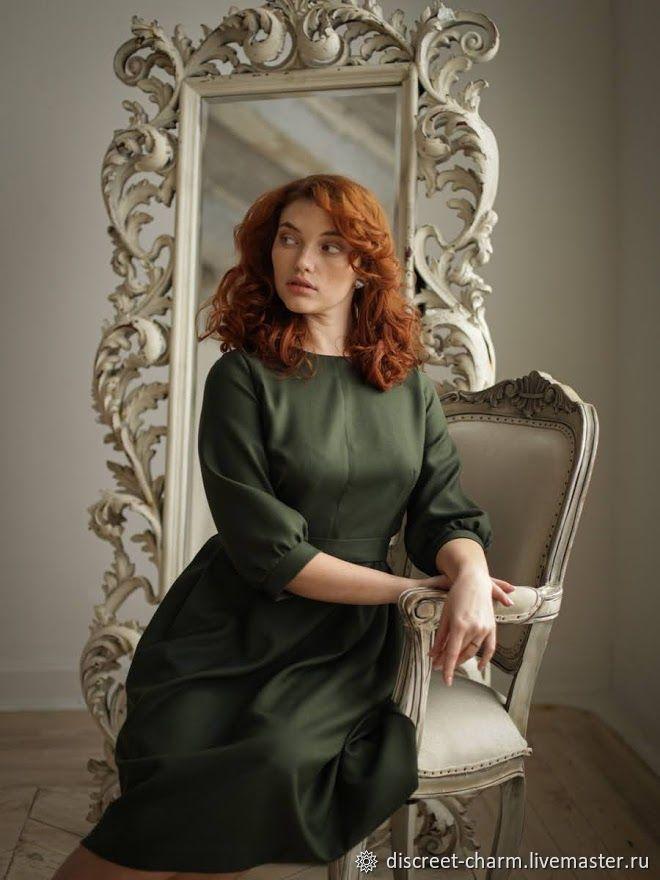 Темно-зеленое шерстяное платье с пышной юбкой, на каждый день, в офис, Платья, Томск,  Фото №1
