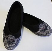 """Обувь ручной работы. Ярмарка Мастеров - ручная работа Тапочки валянные"""" Журавушка-2 """". Handmade."""