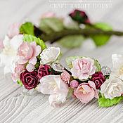 """Украшения ручной работы. Ярмарка Мастеров - ручная работа венок """"Брусничная роза"""" розово-бордовый цветочный ободок. Handmade."""