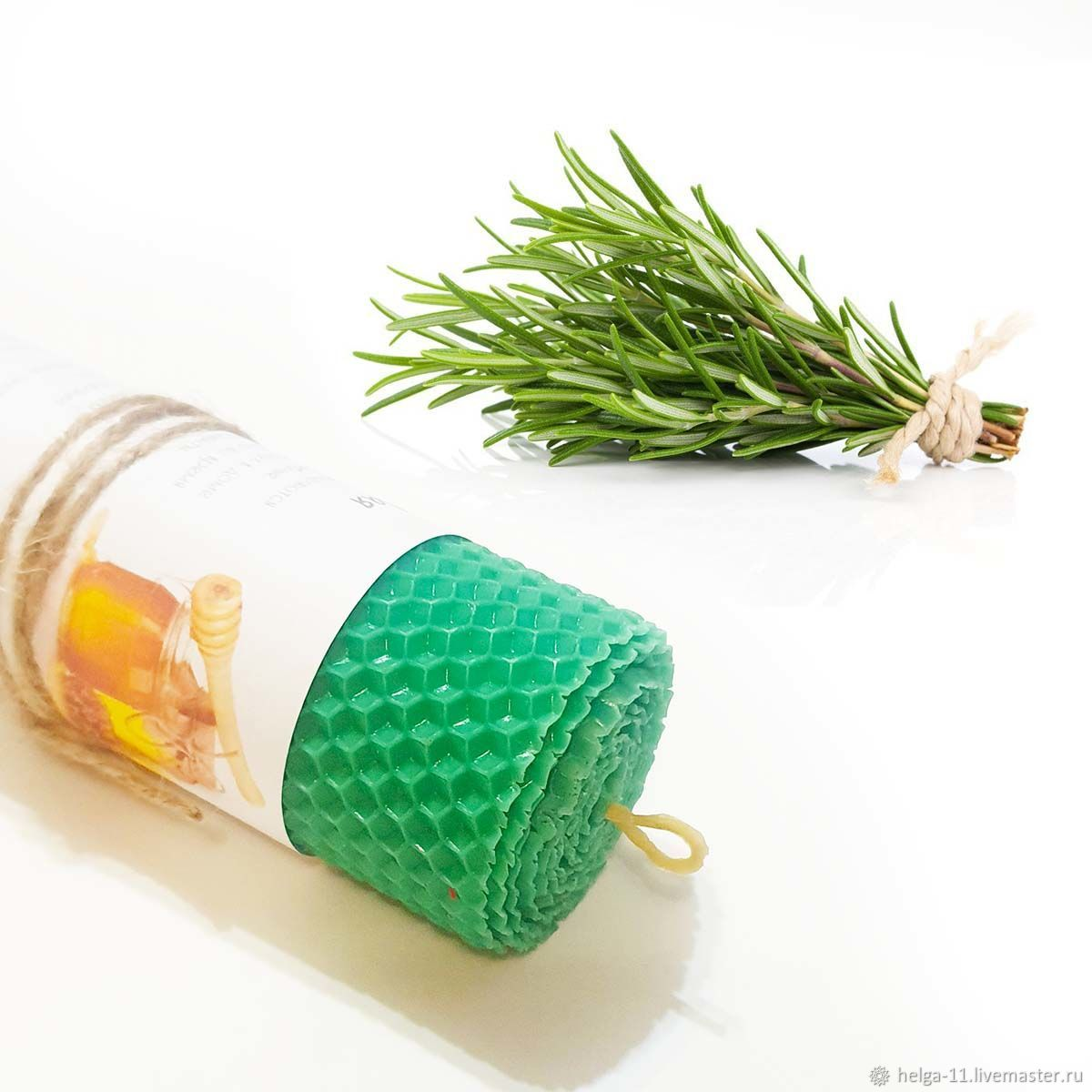 Honey candle-Green with rosemary 13h4,7,  cm, Candles, St. Petersburg,  Фото №1