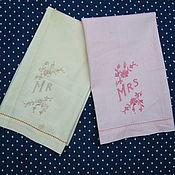 Винтаж handmade. Livemaster - original item Pair of vintage embroidered towels. Handmade.