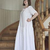 Одежда ручной работы. Ярмарка Мастеров - ручная работа Белое Бохо платье. Льняное летнее длинное платье. Открытые плечи. Handmade.